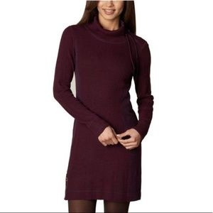 PRANA Kelland Purple Cowl Neck Knit Sweater Dress